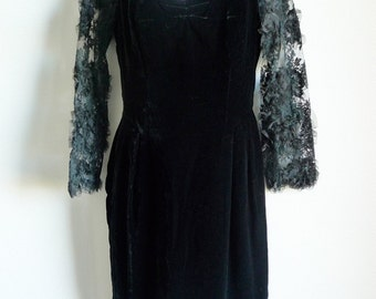 SALE 90s CHRISTIAN LACROIX velvet and lace cocktail evening dress