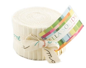 SOLID IVORY Junior Jelly Roll - Moda Bella Solids Ivory - 2.5 inch Strips - Fabric Strips - Jelly Roll - 9900 60