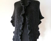 Black Color Women Fashion Knitted Ruffled Long Chunky Wrap Shawl Stole