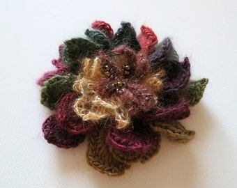 FREE US SHIPPING - Burgundy Wine Grape Plum Brown Khaki Green Olive Sienna Color Crochet Statement Flower Brooch Hat Hair Scarf Shawl Pin