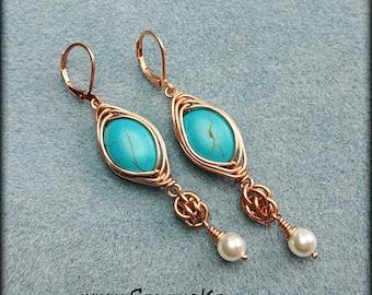Copper Magnesite and Swarovski Pearl  Herringbone Weave Earrings Custom Made to Order