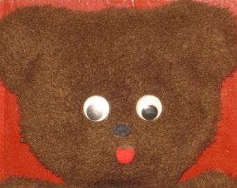 Vintage Teddy Bear Googly Eyes Stuffed Toy Chocolate Brown Gift Vintage Childrens Room Decor