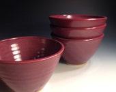 Set of Four Bowls - Raspberry