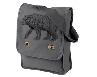 California Bear Gray Messenger Bag - Grizzly Bear Cotton Canvas Messenger Bag - Authentic Pigment Canvas Field Bag