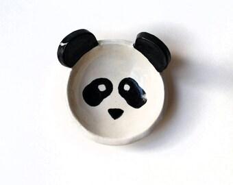 Panda Bowl, Ceramic, Pottery - Tiny Ring Dish, Ring Bowl, Tea Bag Rest, Ring Holder, Jewelry Dish - Lauren Sumner Pottery