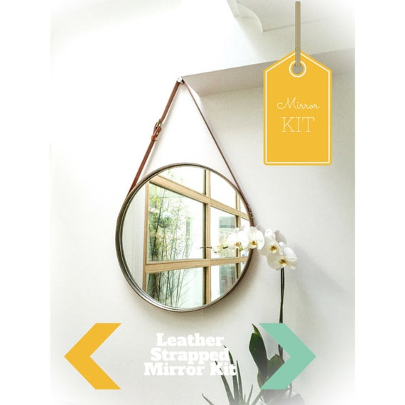 Nobi tan leather strapped mirror adnet jamie young style for Mirror hanging kit