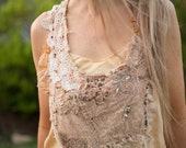 altered couture Upcycled silk top, recycled beaded top, boho festival top, beaded lace bohemian tunic, bohemian lace tank