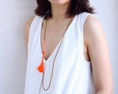 Simple Long Orange Tassel Brass Necklace Wrap Bracelet