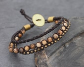 Brown Jasper Multi Strand Leather Braided Bracelet