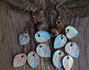 Leaves copper and patina dangle earrings limited edition