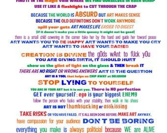Make Art Manifesto (Drama Sutra), 11x14