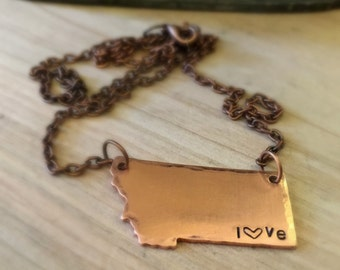 Hammered Copper MT Love Necklace