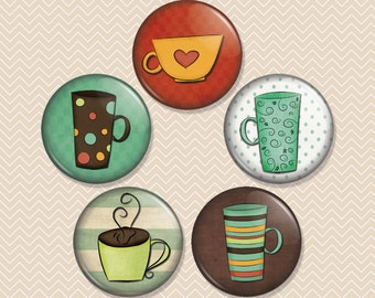 Coffee Cups 1 inch Magnet Set of 5 (M0014)