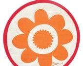 NEW Pot Holders, Orange Flower, Yellow Sun, or Navy Burst, with contrasting binding tape, 10 inch diameter