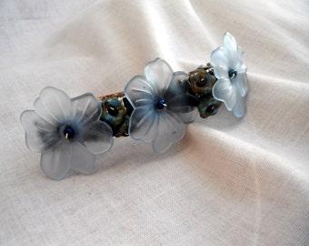 Lucite Flower Beaded Barrette Light Blue with Blue Bells 2016 Pantone