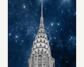 20% off SALE, Chrysler Building, New York Photography, NYC Art, Navy Blue, Silver, New York City Art, Wall Decor, stars