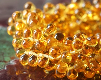 6x4 Teardrop Beads - Jewelry Making Supply - Czech Glass Beads - Amber Topaz Glass Tear Drop (100 pieces) )