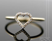 Open Heart Halo Ring - Diamonds and 14k gold