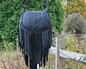 XL Black Deerskin Fringe Bag w/ Braided Flap