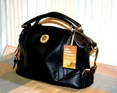 """GGR 'Packin' Protection"""" Rich Black Leather Concealed Weapon Handbag With Locking Zipper"""