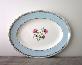 Shabby Chic Aqua Blue and White China Platter Royal Staffordshire