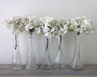 Set of Five Vintage Clear Glass Bud Vases - Instant Collection