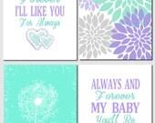 Purple Lavender Green Mint Wall Art Kids Wall Art I'll Love You Forever Dandelions Floral Nursery Art Baby Girl, Set of 4, Art Prints