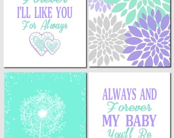 Purple Lavender Green Mint Wall Art Kids Wall Art I'll Love You Forever Dandelions Floral Nursery Art Baby Girl, Set of 4, Art Prints