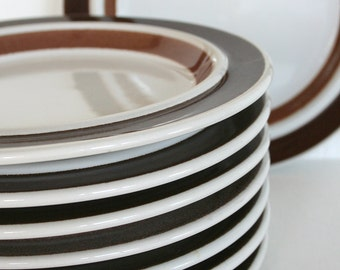 Set of eight Arabia salad plates in Rosmarin pattern. Arabia of Finland, Ulla Procope, brown, bands, stripes, rustic, heavy, sturdy