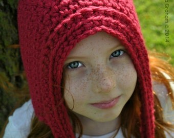 Chunky Pixie Hat Crochet Pattern in Toddler, Child and Adult Sizes No.311 Digital Download PDF