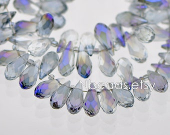 78pcs Teardrop Crystal Faceted Glass beads 7x15mm Blue Purple Sparkly Briolette (#HS0709)