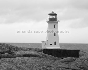 Peggy's Cove lighthouse black and white photograph