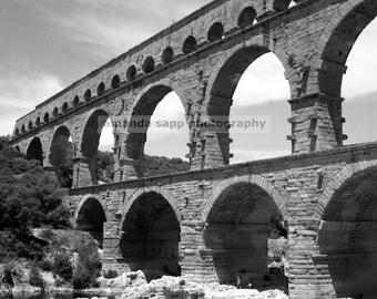 Pont du Gard Bridge France black and white photograph