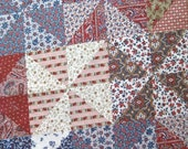 """Cotton Fabric Quilt Fabric Craft Fabric Triangle Fabric Calico Fabric Floral Print Paisley Fabric Fall Fabric Red White Blue 1 Yard 44"""" Wide"""