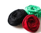 Rosette Trio Hair Clip Black Silk Red and Green Cotton Flowers