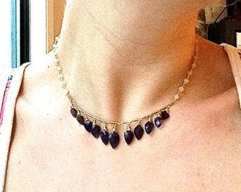 Blue Iolite Arrowhead Gemstone 14kt Gold Filled Choker