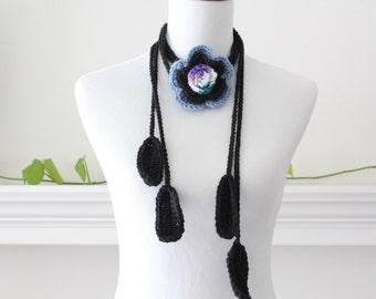 Crochet Black Flower Lariat, Necklace, Scarf, Scarflette
