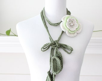 Crocheted Lightgreen White Pink Necklace, Scarflette with Removable Brooch