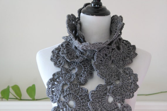 Crocheted Gray Scarf Neckwarmer