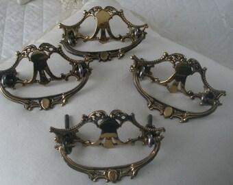 Antique Brass Set of Four Dresser Pulls