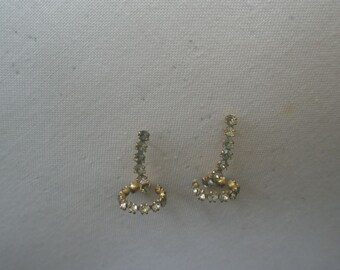 Vintage Gold Tone and Rhinestone Lasso Design Post Earrings