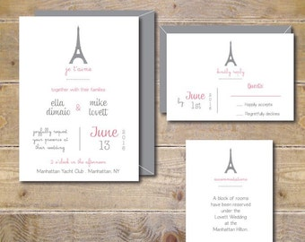 Wedding Invitations, Paris Wedding, Wedding Invites, Eiffel Tower, Merci, Affordablw Wedding, Paris, France,Je t'aime