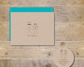 Stick Figure Wedding Thank You Cards, Rustic Wedding, Stick Figure Cards,  Bridal Shower Thank You Cards,  Stick Figures Couple - Set of 25