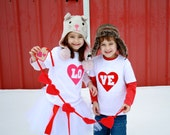 "Valentine's Day ""LO-VE"" Toddler size Twin (or SIBLING) set"