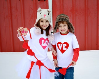 """Valentine's Day """"LO-VE"""" Toddler size Twin (or SIBLING) set"""