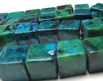 Chrysocolla Beads 8mm Blue and Green Smooth Polished 3d Cubes - (Last 22 Pieces)