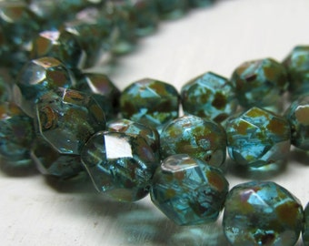 Czech Glass Beads 6mm Semi Translucent Turquoise Blue w/ Golden Highlights Faceted Rounds - 30 Pieces