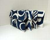 Set of 4 Navy Blue Bridesmaid Clutches with Gray LIning and Buttons - READY TO SHIP