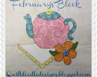 My Favorite Things Quilt Doodle Designs February's Block 2015
