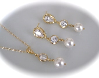 Gold Crystal Necklace and Earrings Wedding Jewelry Bridesmaid Jewelry Set